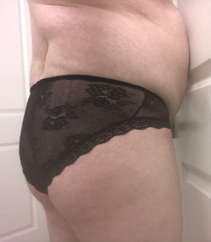 Cucky in pretty black lace panties. He certainly doesn't wear briefs or boxers.
