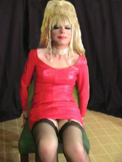 Red leather dress handcuffed