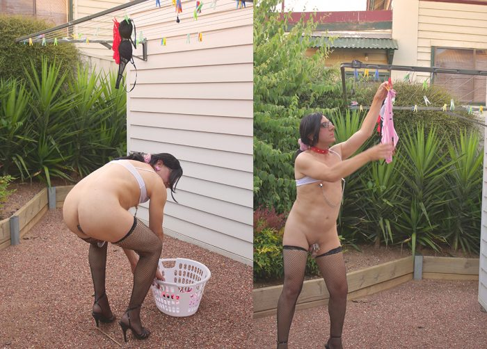 Laundry day for exposed and naked sissy in chastity