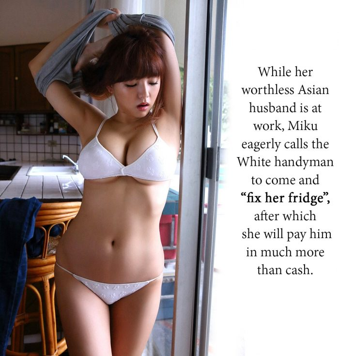 Asian cuckold works while wife cheats with white handyman