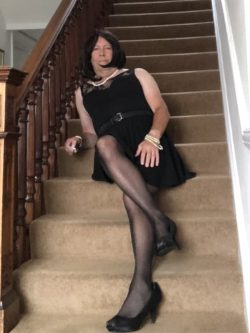 Sissy Bryony relaxing on stairs