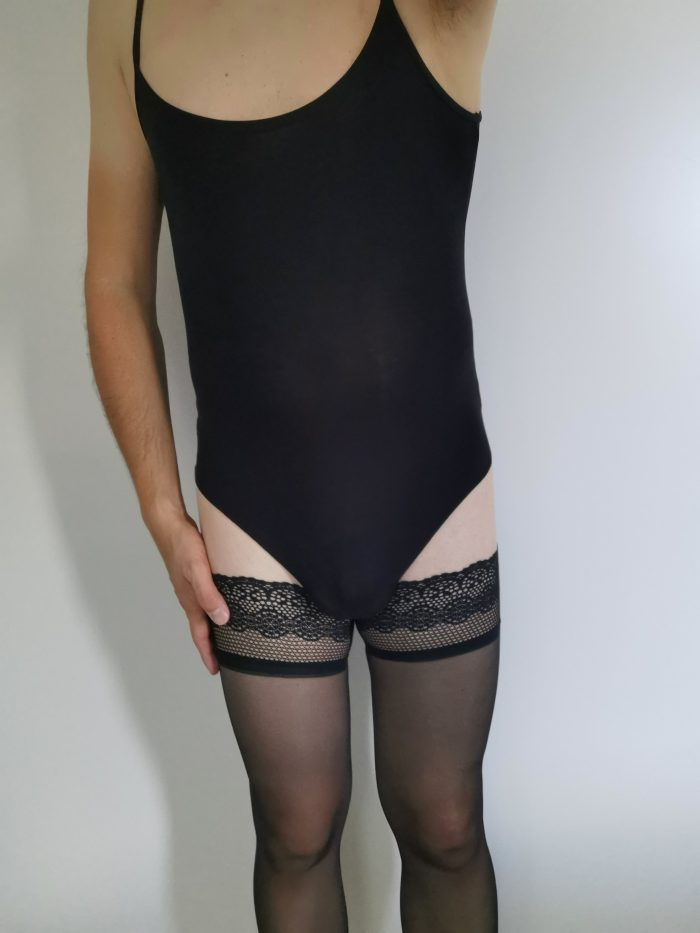 body, stockings and chastity cage
