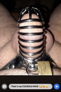 Mistress Kathy caged his cuckold dick
