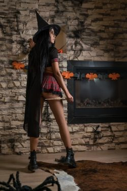 Asian findom dressed like a witch while I jacked my dick